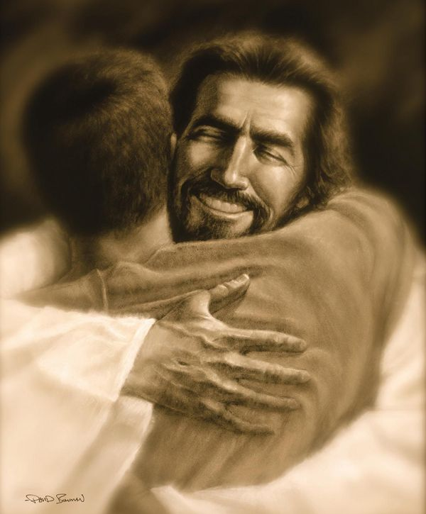 Jesus hugs man